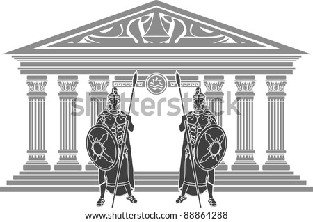 two titans and temple of atlantis. stencil. vector illustration - stock vector