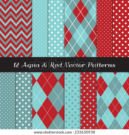 Two Tone Aqua Blue and Red Chevron, Argyle and Polka Dot Patterns. Soft aqua blue and dark red backgrounds. Aqua Red Christmas. Vector Pattern Swatches made with Global Colors. - stock vector