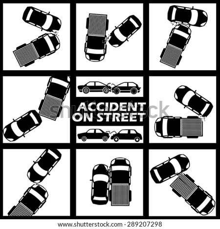 two tone colors car crash sign.In vector format - stock vector