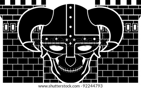 two tower and skull of fantasy warrior. vector illustration - stock vector