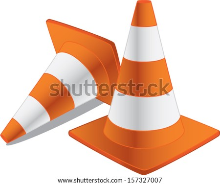 two traffic cones isolated