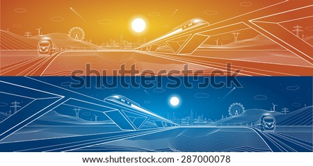 Two trains move, dynamic composition, background mountains and night city on background, vector art, day and night - stock vector