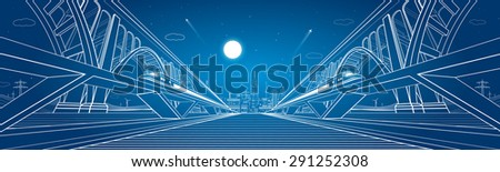 Two trains move on the railroad, dynamic composition, Two big bridges on background, vector industrial and transport illustration, vector lines landscape, night city, vector design - stock vector