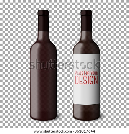 Two transparent blank black realistic bottles for red wine isolated on plaid background with place for your design and branding. Vector