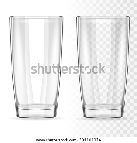 Two transparent glass for water, milk, juice, cocktail. Objects can be placed on any white background. Vector  design elements. - stock vector