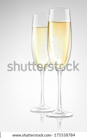 Two transparent vector champagne glasses - stock vector