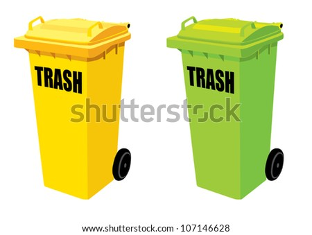 Two trash green and yellow.vector illustration