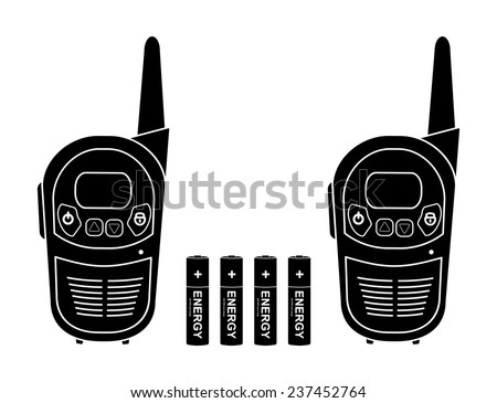 Two travel portable mobile vector radio set devices wit 4 accumulator batteries. Black silhouette illustration isolated on white - stock vector