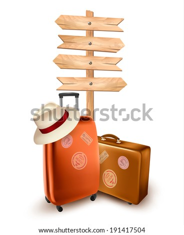 Two travel suitcases and a direction sign. Vector illustration.  - stock vector