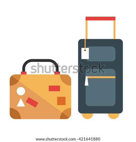 Two travel suitcases with tags and stickers. Flat vector illustration  isolated on a white background - stock vector