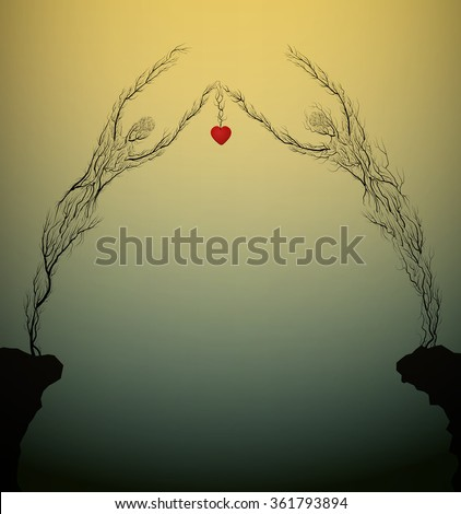 two tree silhouettes like a man and woman holding red heart and growing on the opposite rock, Valentine`s day plant decoration, love forever, people like plant, marriage idea surrealism, - stock vector