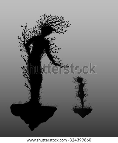 two tree silhouettes look like people and growing on flying rock, plant surrealism, wonderland forest trees, vector.