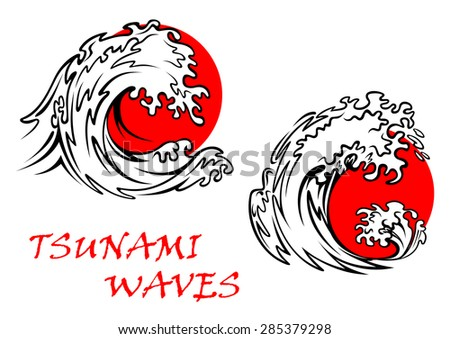 Two tsunami waves with red sun behind, for weather or east concept design - stock vector