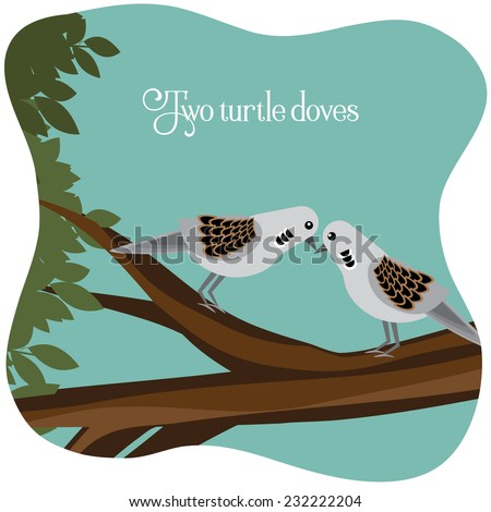 Two turtle doves on a branch EPS 10 vector illustration - stock vector