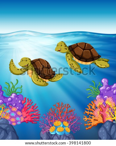 Two turtles swimming under the sea illustration - stock vector