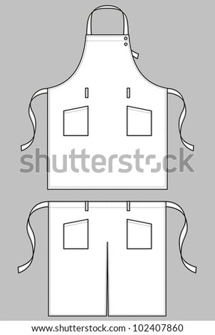 Two types of aprons for waiters of restaurant - stock vector