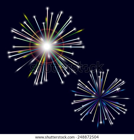 two types of colorful shiny fireworks on black background eps10 - stock vector