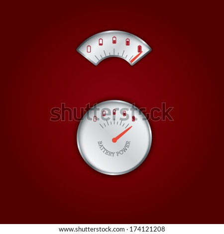 Two types of gauges or meters for measuring battery power. Eps10 vector illustration - stock vector
