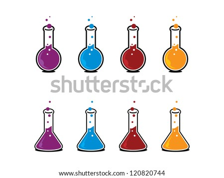 Two Types of Science Beakers in Different Colors. - stock vector