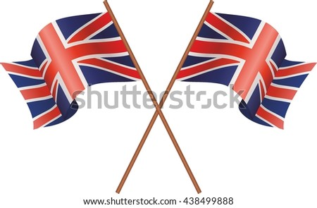 Two UK Flag flutters in the wind. Vector isolated on white background.