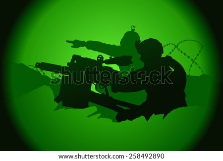 Two US soldiers. View from night vision. - stock vector