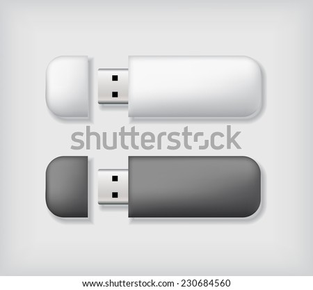 Two usb memory sticks on neutral background. Blank template. Business identity mock up. Vector illustration. - stock vector