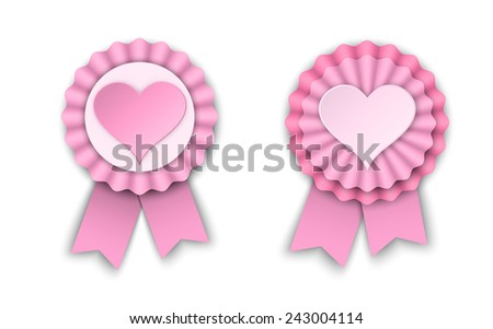 two valentine pink ribbon rosettes, vector illustration, eps 10 with transparency and gradient meshes - stock vector