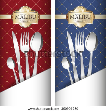 Two variants Royal restaurant menu design on blue and on red background. It has a white  pocket. Grouped for easy editing. Perfect for invitations or announcements or restaurant menu. - stock vector