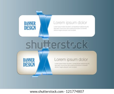 Two vector banners braided with blue silky glossy ribbons