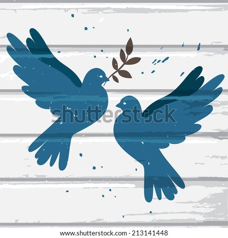 Two vector blue doves on white wood background, postcard for international peace day - stock vector