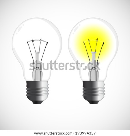 Two vector bulbs, one glowing, against white background