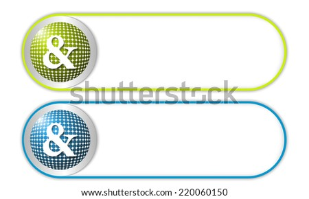 two vector buttons with grid and ampersand - stock vector