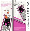 two vector cards with cartoon calling phones for valentine day - stock vector