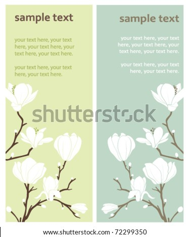 two vector cards with magnolia flowers - stock vector