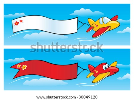 Two vector cartoon airplanes with banners in the sky.