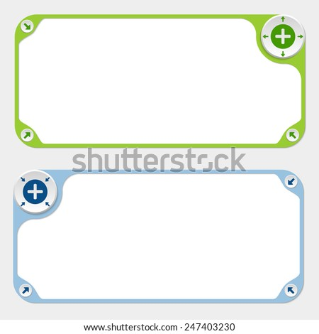 Two vector frames and arrows and plus symbol - stock vector
