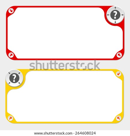 Two vector frames and arrows and question mark - stock vector