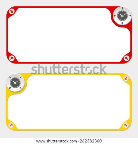 Two vector frames and arrows and watches - stock vector