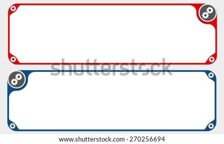 Two vector frames for your text and simple cogwheels - stock vector