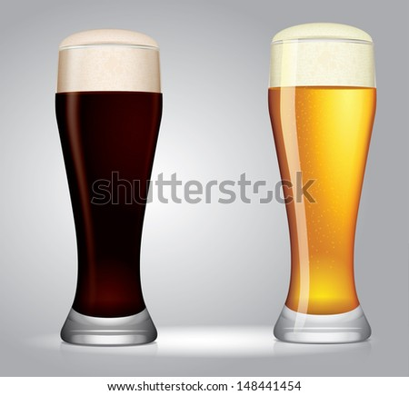 two vector glasses of beer - stock vector