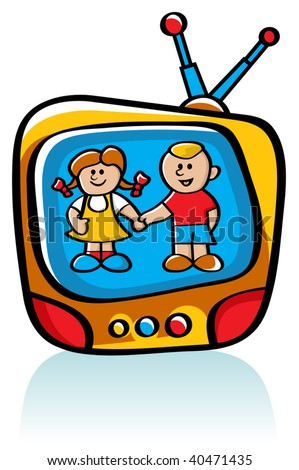 Two Vector Kids On TV Screen - stock vector