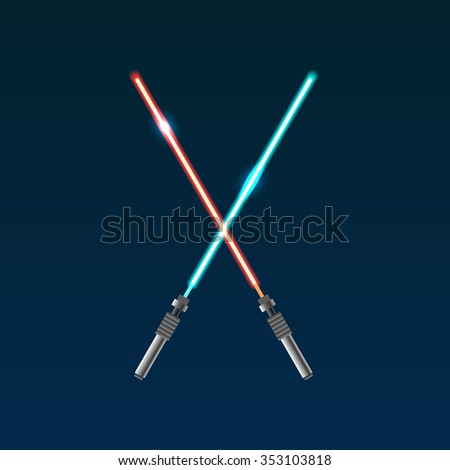 Two vector light swords from star wars. Modern weapon. - stock vector
