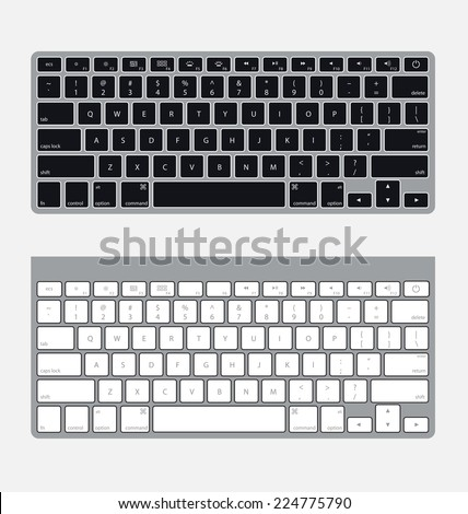 Two Vector Modern Computer Keyboards Flat Graphic Style. Compatable with clean design. Compatible with clean design.