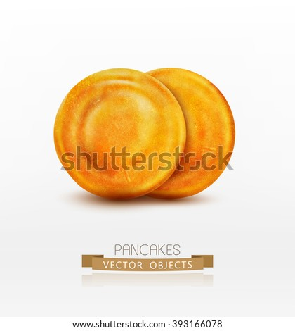two vector pancake isolated on white background - stock vector