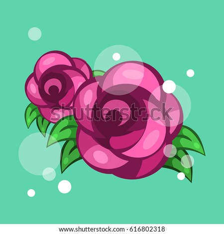 Two vector roses. Abstract flowers.