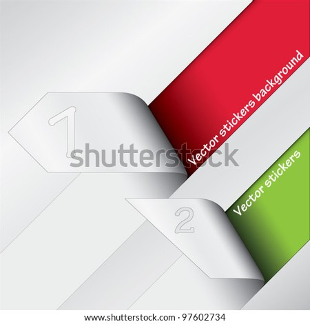 Two vector stickers, stripes revealing colorful background