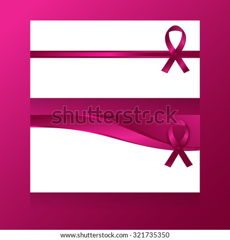 Two vector template of cards, banners, flyers with clear place for your text and wavy pink ribbons, isolated on white background. Breast cancer awareness symbols.