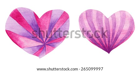 Two vector traced hand painted pink and purple watercolor hearts placed on white background, elements for greeting cards design on Valentine's Day
