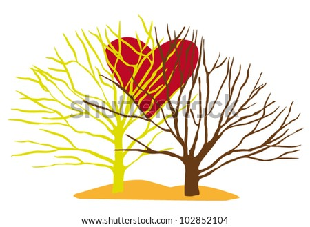 Two Vector Trees with Big Red Love Heart Isolated on White Background - stock vector