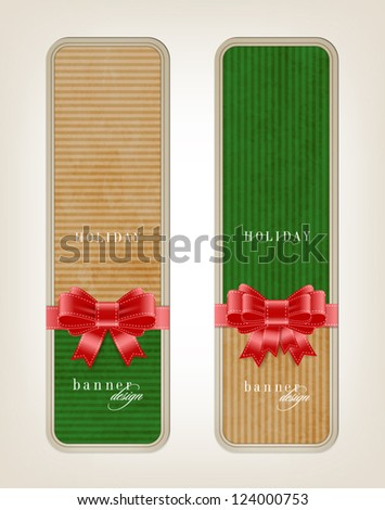 Two vector vintage style cardboard banners with festive silky bow knots - green